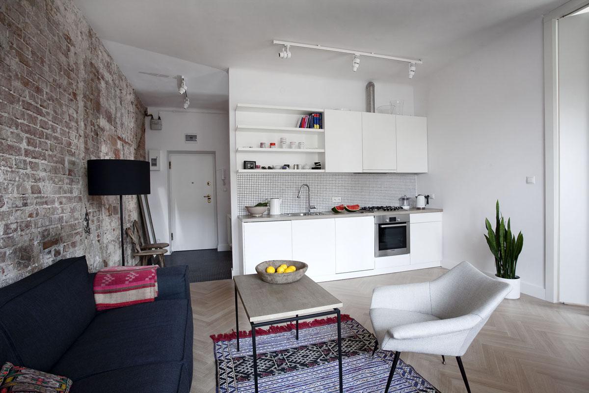 Aran acja kuchni z salonem ciekawe pomys y na wygodne for Small apartment minimalist design